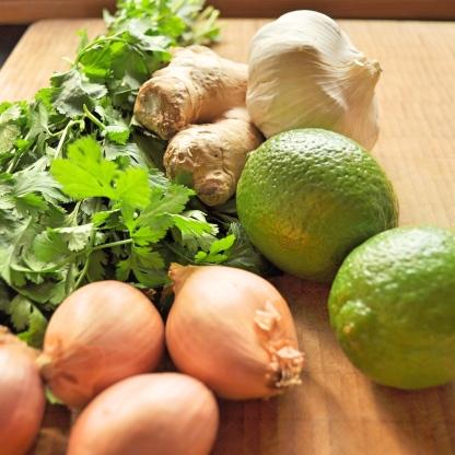 lime shallot coriander garlic ginger