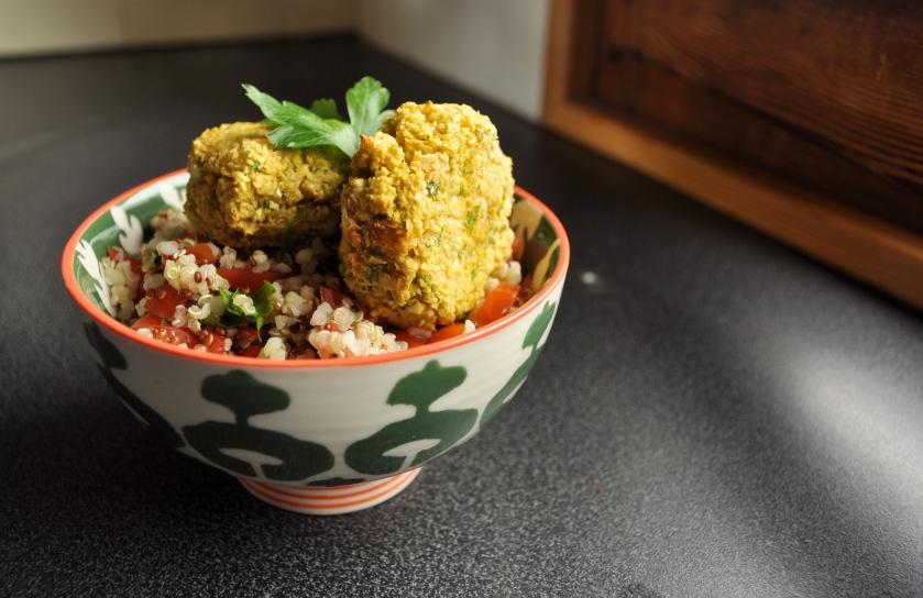 falafel and salad