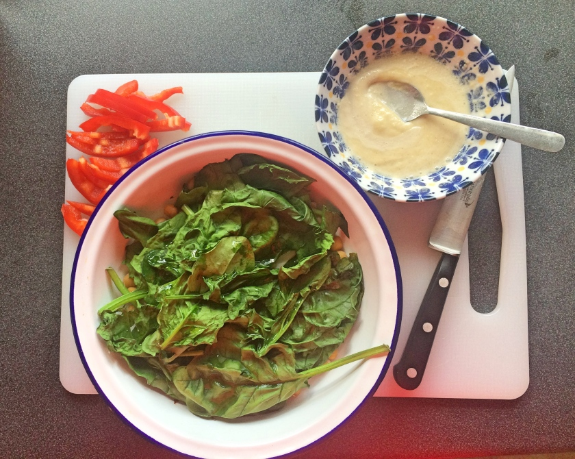 spinach peppers dressing